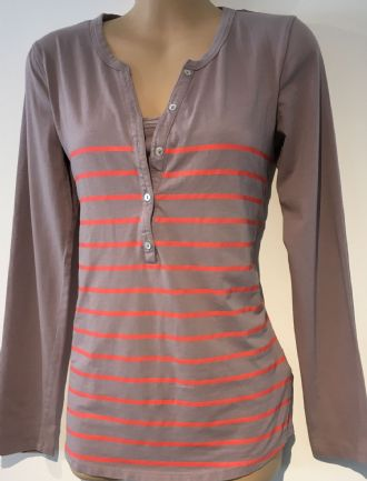 COLLINE DUSKY PINK ORANGE STRIPE NURSING TOP SIZE UK 18-20